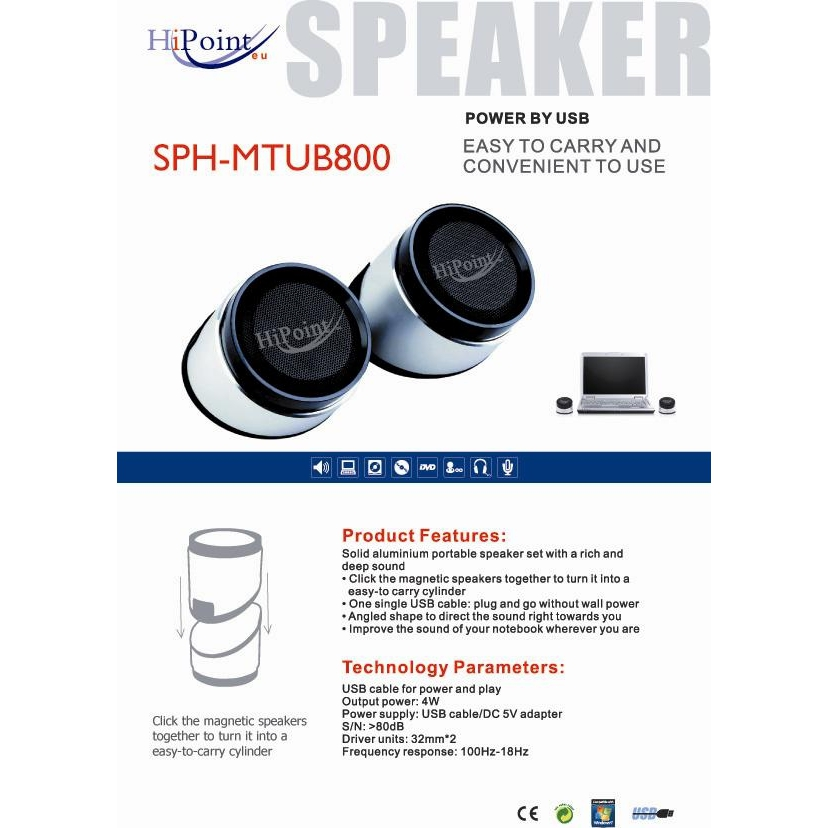 HiPoint SPH-MTUB800 Tube Speakers