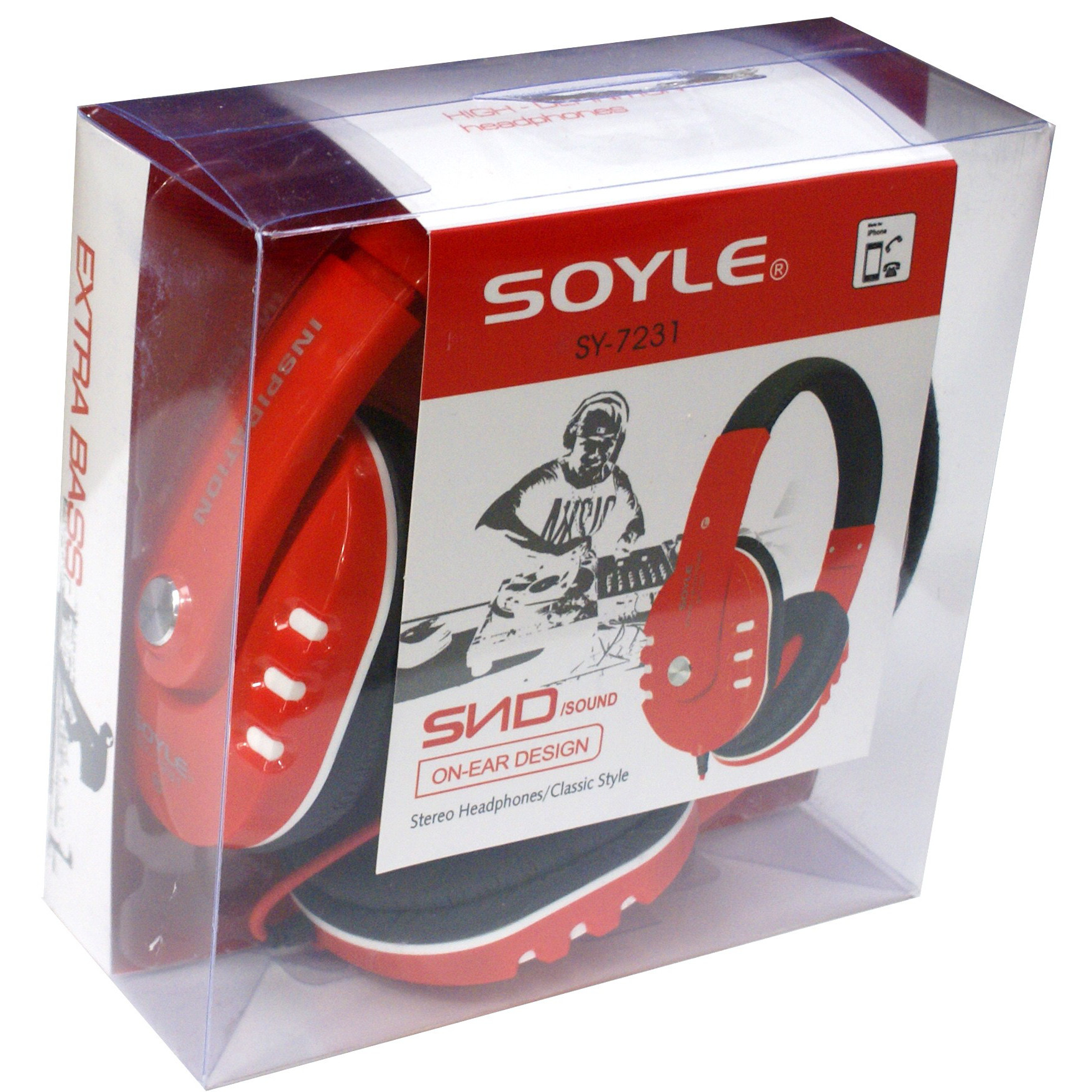 Soyle SY-7231 Noise Isolating Extra Bass Headphones In Red or White