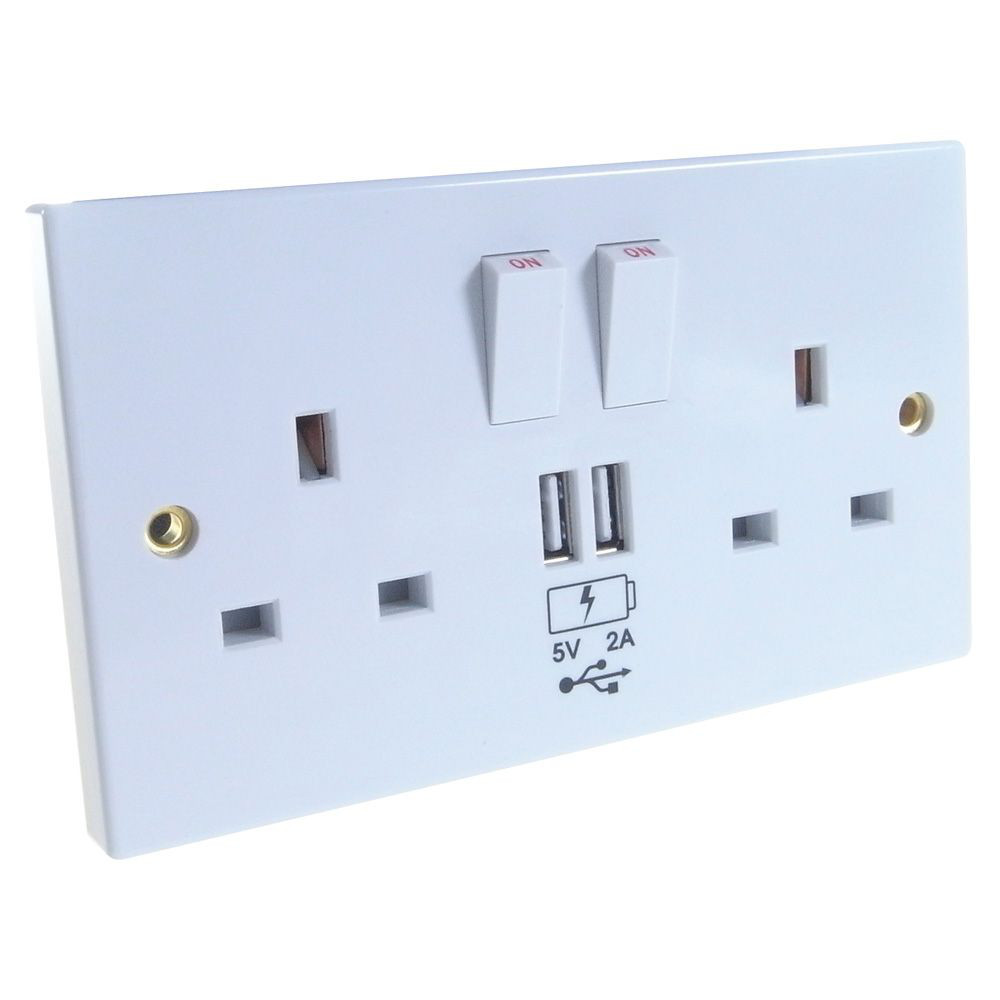 2 way UK power socket with USB charging plate White