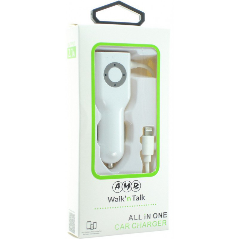 AMB All In One Car Charger with Cable 2.1A
