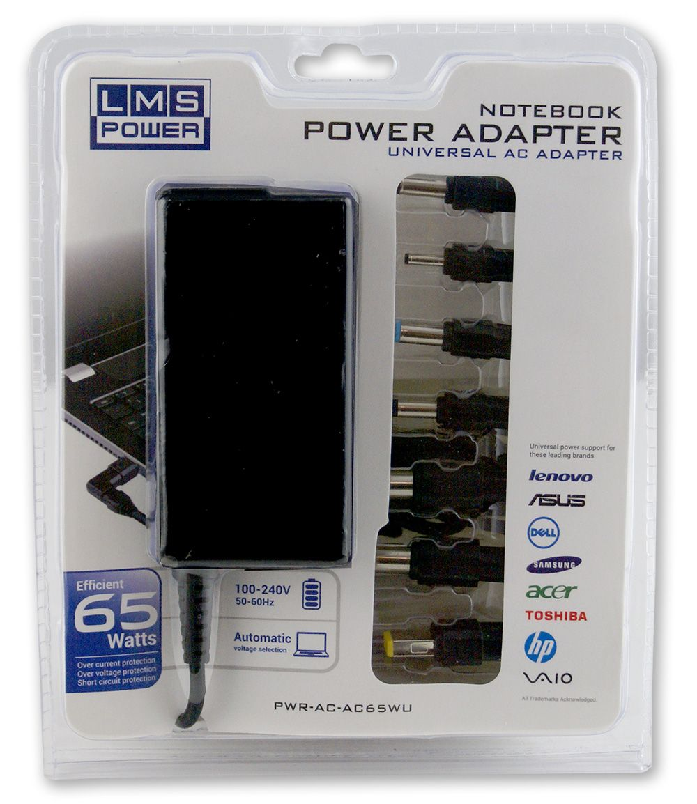 LMS 65 Watt Notebook Universal AC Power Adapter