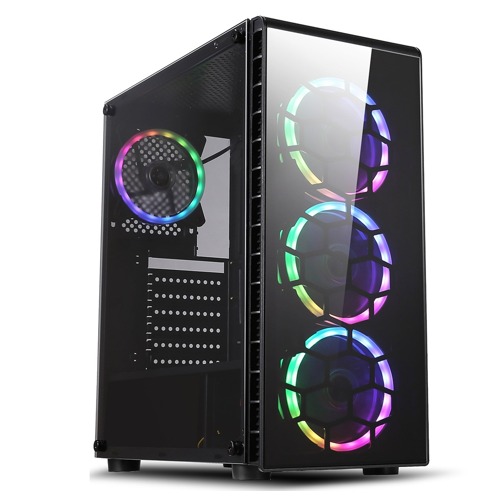 CiT Raider 1 x USB 3.0 / 2 x USB 2.0 Temp Glass Side/Front Window Panels Black Case  RGB LED Fans